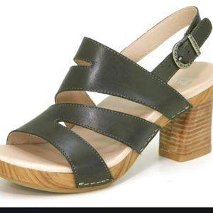 Dansko Ashley burnished calf olive heel sandal 37